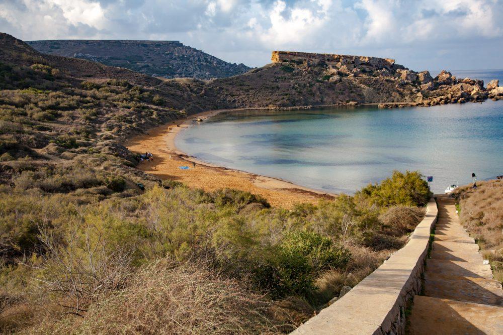 Een van de stranden van Malta
